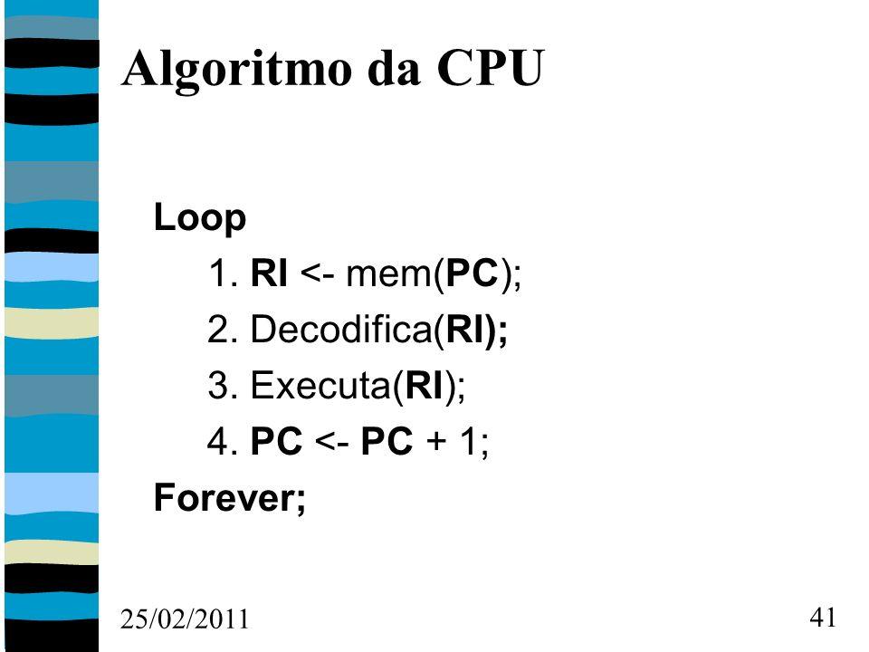 25/02/2011 41 Algoritmo da CPU Loop 1. RI <- mem(PC); 2.