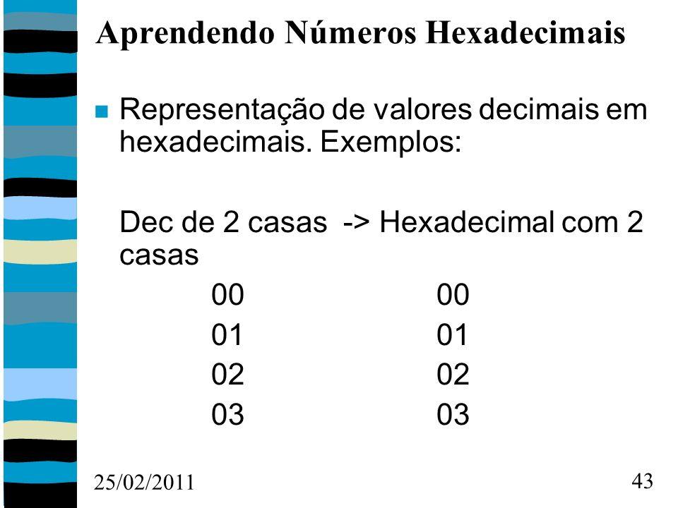 25/02/2011 43 Aprendendo Números Hexadecimais Representação de valores decimais em hexadecimais.