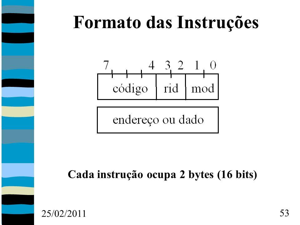 25/02/2011 53 Formato das Instruções Cada instrução ocupa 2 bytes (16 bits)