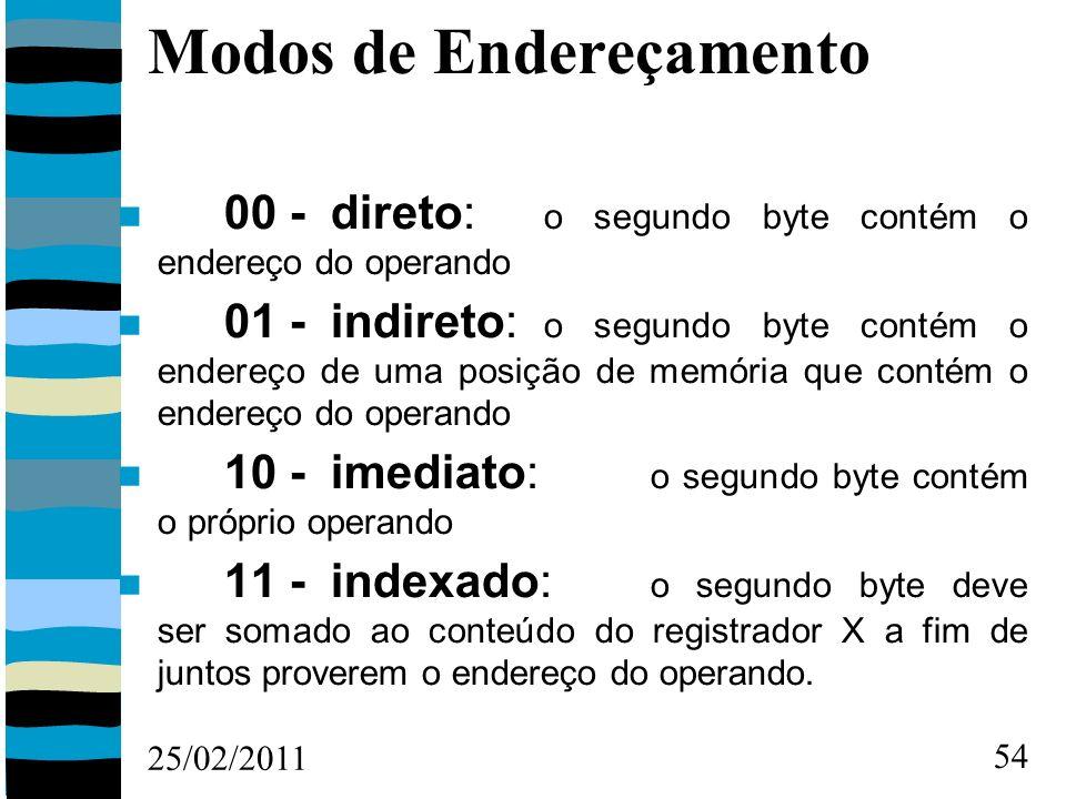 25/02/2011 54 Modos de Endereçamento 00 - direto: o segundo byte contém o endereço do operando 01 - indireto: o segundo byte contém o endereço de uma posição de memória que contém o endereço do operando 10 - imediato: o segundo byte contém o próprio operando 11 - indexado: o segundo byte deve ser somado ao conteúdo do registrador X a fim de juntos proverem o endereço do operando.