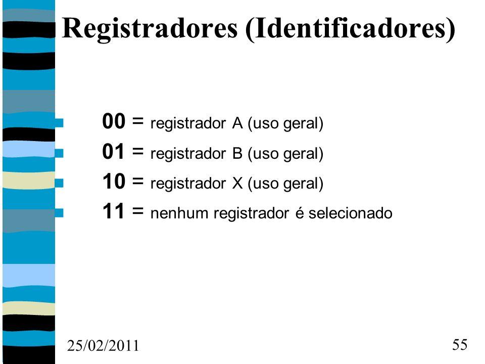 25/02/2011 55 Registradores (Identificadores) 00 = registrador A (uso geral) 01 = registrador B (uso geral) 10 = registrador X (uso geral) 11 = nenhum registrador é selecionado