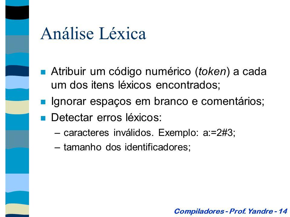 Análise Léxica Atribuir um código numérico (token) a cada um dos itens léxicos encontrados; Ignorar espaços em branco e comentários; Detectar erros léxicos: –caracteres inválidos.