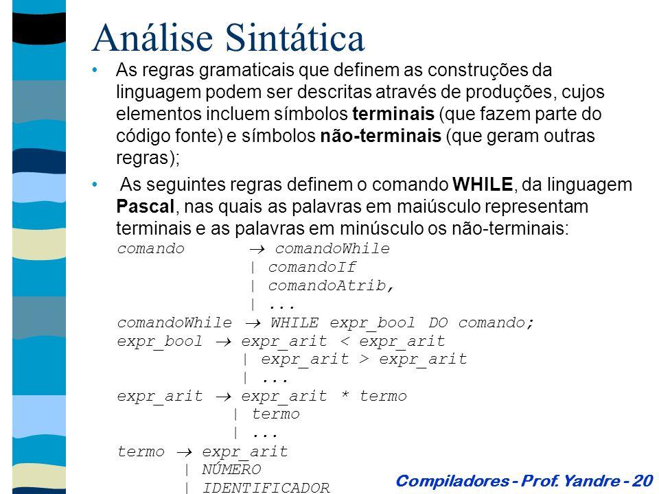 Análise Sintática As regras gramaticais que definem as construções da linguagem podem ser descritas através de produções, cujos elementos incluem símbolos terminais (que fazem parte do código fonte) e símbolos não-terminais (que geram outras regras); As seguintes regras definem o comando WHILE, da linguagem Pascal, nas quais as palavras em maiúsculo representam terminais e as palavras em minúsculo os não-terminais: comando comandoWhile | comandoIf | comandoAtrib, |...
