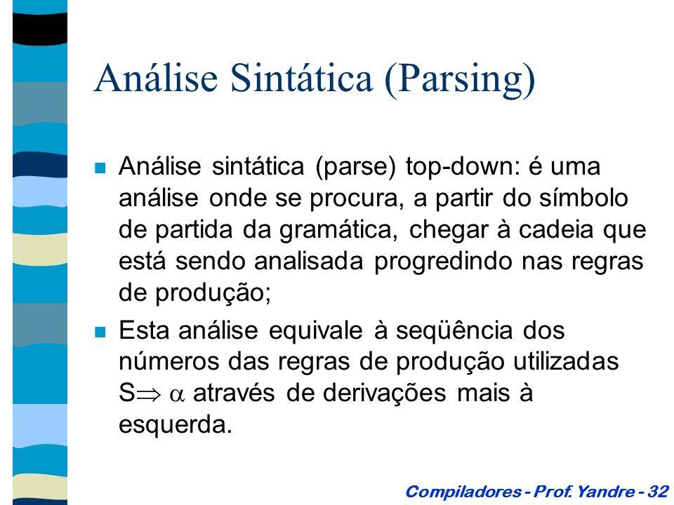 Análise Sintática (Parsing) Análise sintática (parse) top-down: é uma análise onde se procura, a partir do símbolo de partida da gramática, chegar à cadeia que está sendo analisada progredindo nas regras de produção; Esta análise equivale à seqüência dos números das regras de produção utilizadas S através de derivações mais à esquerda.