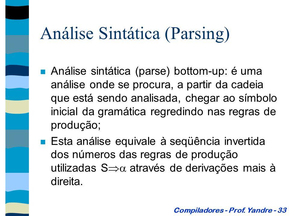Análise Sintática (Parsing) Análise sintática (parse) bottom-up: é uma análise onde se procura, a partir da cadeia que está sendo analisada, chegar ao símbolo inicial da gramática regredindo nas regras de produção; Esta análise equivale à seqüência invertida dos números das regras de produção utilizadas S através de derivações mais à direita.