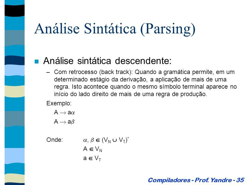 Análise sintática descendente: –Com retrocesso (back track): Quando a gramática permite, em um determinado estágio da derivação, a aplicação de mais de uma regra.