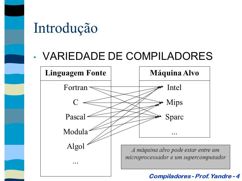A análise cria um representação intermediária do código Introdução Estrutura Geral de um Compilador (Modelo de compilação de Análise e Síntese) Compiladores - Prof.