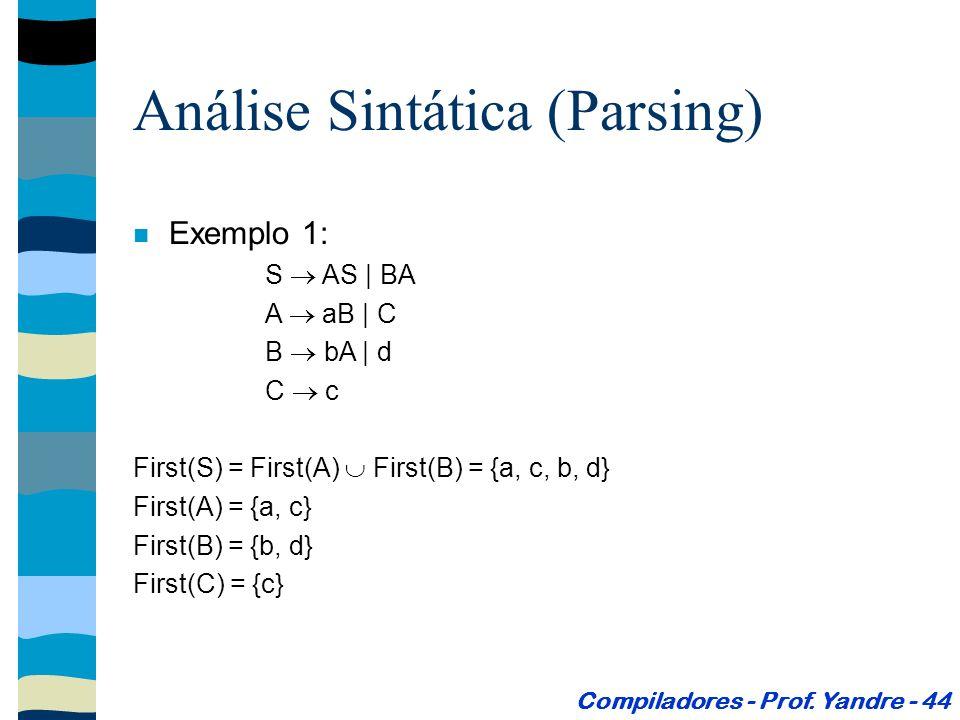 Exemplo 1: S AS | BA A aB | C B bA | d C c First(S) = First(A) First(B) = {a, c, b, d} First(A) = {a, c} First(B) = {b, d} First(C) = {c} Análise Sintática (Parsing) Compiladores - Prof.