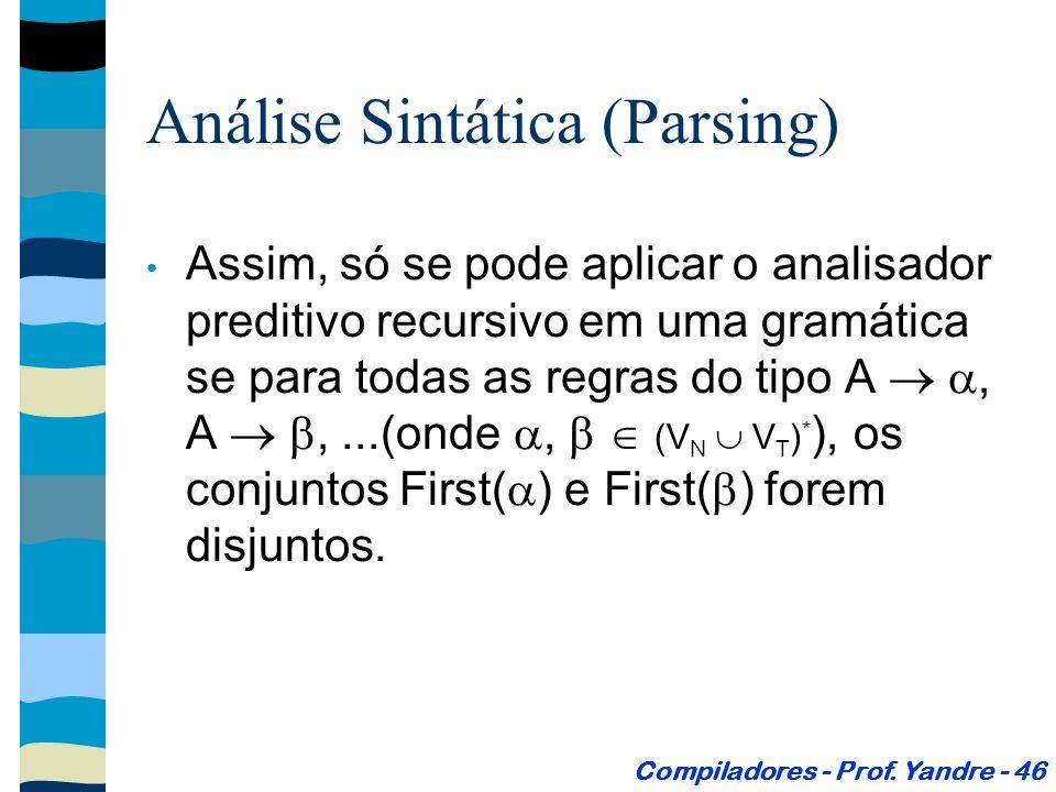 Assim, só se pode aplicar o analisador preditivo recursivo em uma gramática se para todas as regras do tipo A, A,...(onde, (V N V T ) * ), os conjuntos First( ) e First( ) forem disjuntos.