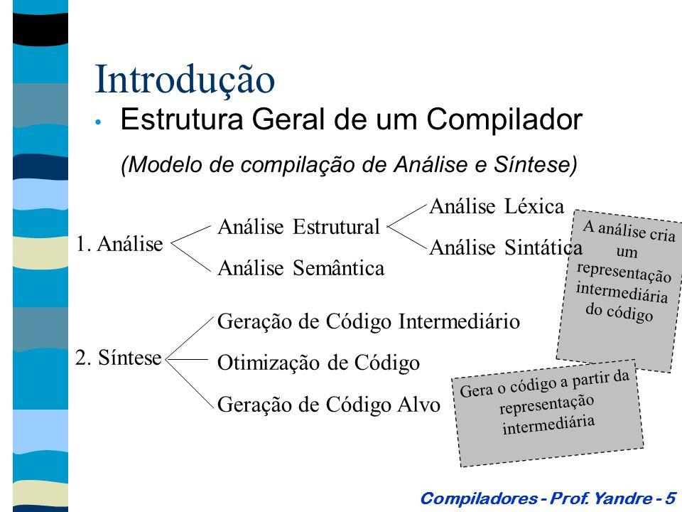 Geração de Código Intermediário Gera um conjunto de instruções, equivalentes ao programa fonte, para uma máquina hipotética.