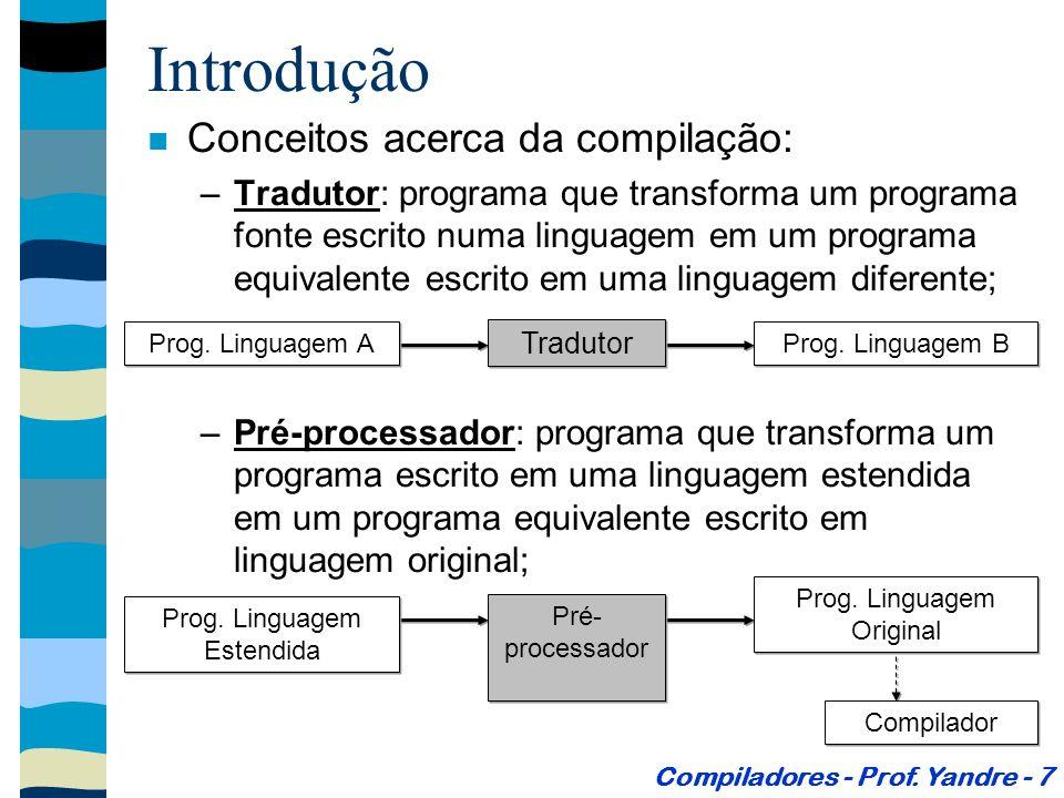 Introdução –Montador: tradutor que transforma um programa escrito em uma linguagem simbólica (de baixo nível) em instruções equivalentes em linguagem de máquina; Compiladores - Prof.
