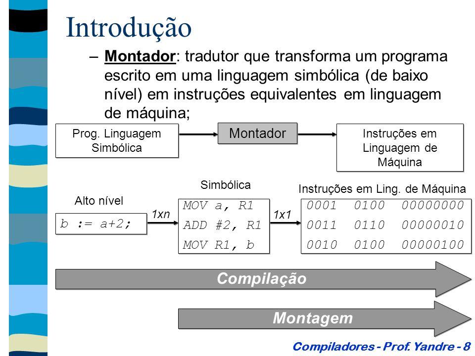 Introdução –Interpretador: tradutor que funciona em tempo de execução.