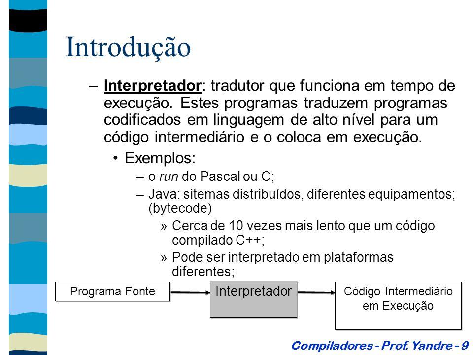Introdução Hierarquia: Compiladores - Prof.