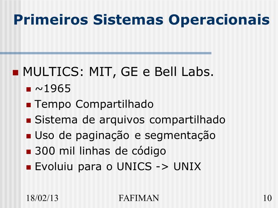 18/02/1310FAFIMAN Primeiros Sistemas Operacionais MULTICS: MIT, GE e Bell Labs.