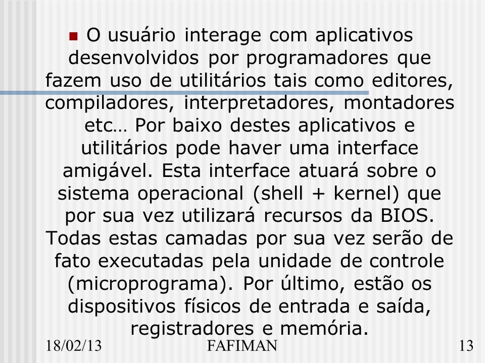 18/02/1313FAFIMAN O usuário interage com aplicativos desenvolvidos por programadores que fazem uso de utilitários tais como editores, compiladores, interpretadores, montadores etc… Por baixo destes aplicativos e utilitários pode haver uma interface amigável.