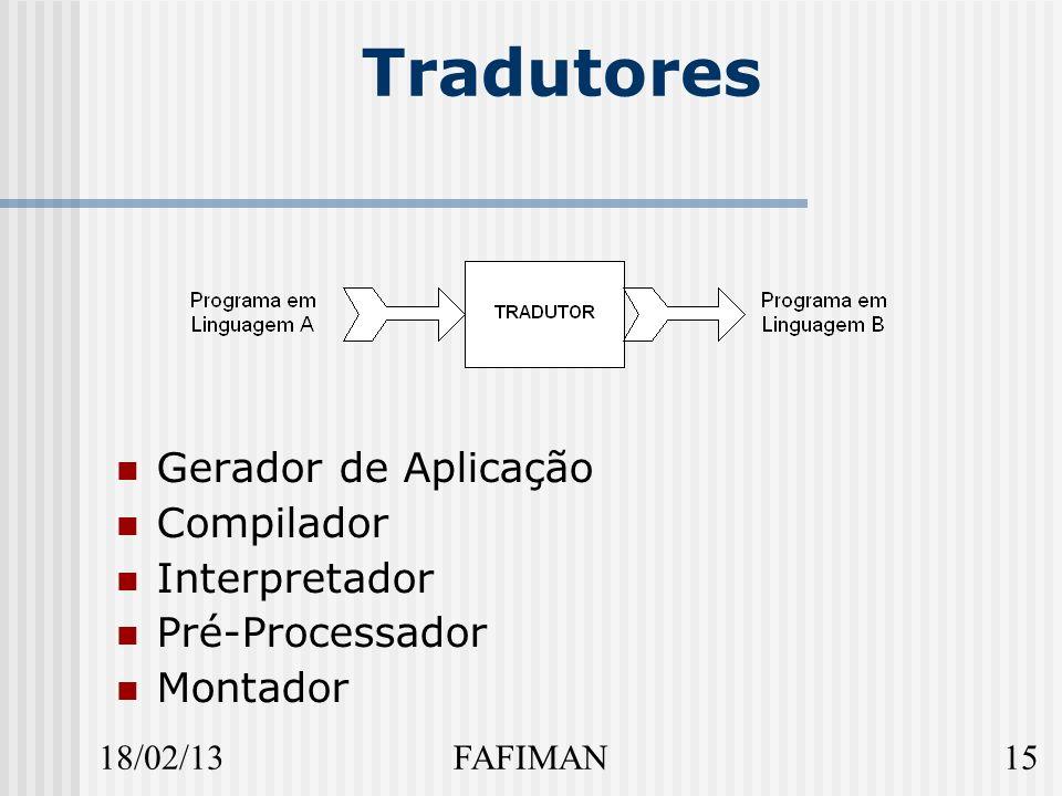 18/02/1315FAFIMAN Tradutores Gerador de Aplicação Compilador Interpretador Pré-Processador Montador