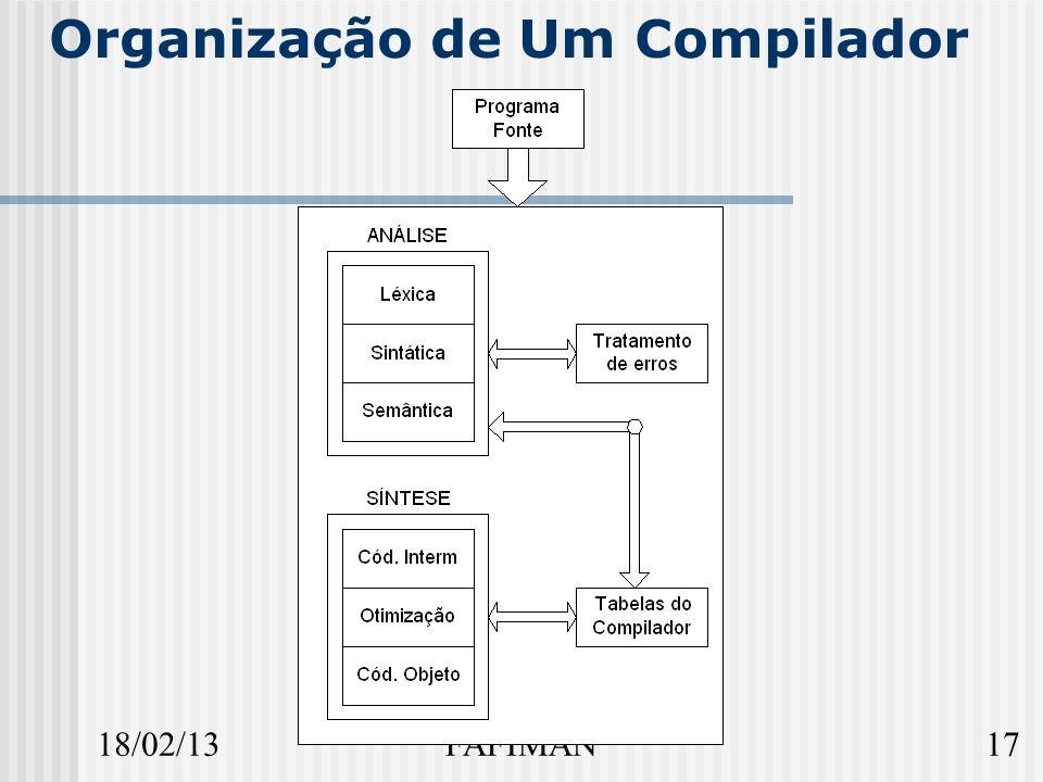 18/02/1317FAFIMAN Organização de Um Compilador