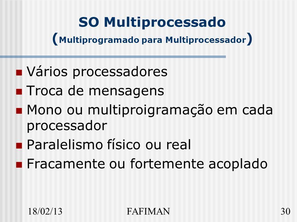 18/02/1330FAFIMAN SO Multiprocessado ( Multiprogramado para Multiprocessador ) Vários processadores Troca de mensagens Mono ou multiproigramação em cada processador Paralelismo físico ou real Fracamente ou fortemente acoplado