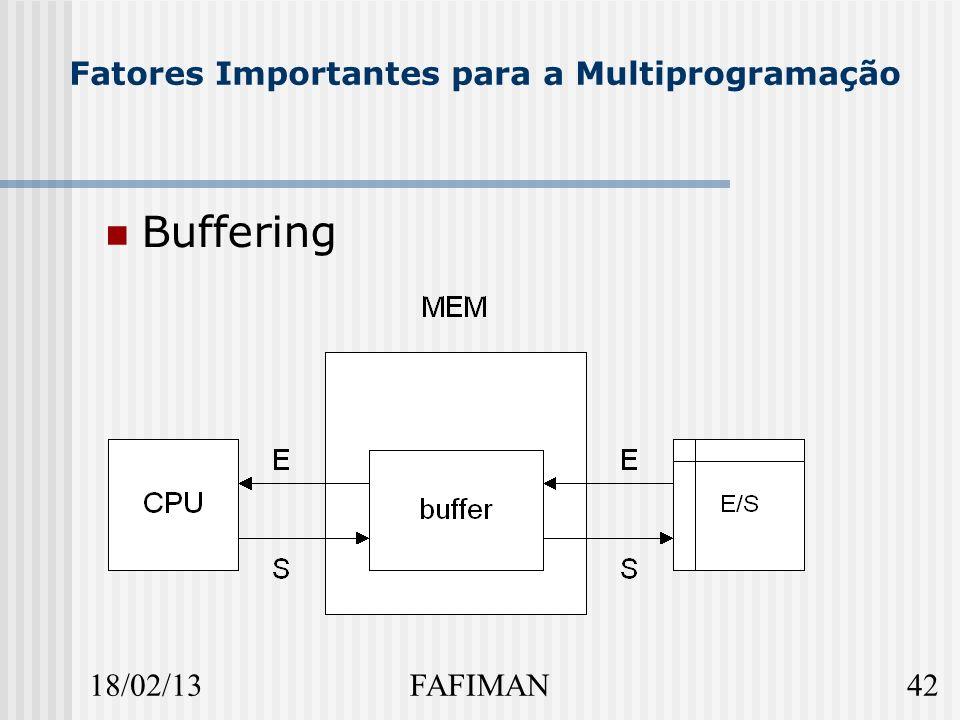 18/02/1342FAFIMAN Fatores Importantes para a Multiprogramação Buffering