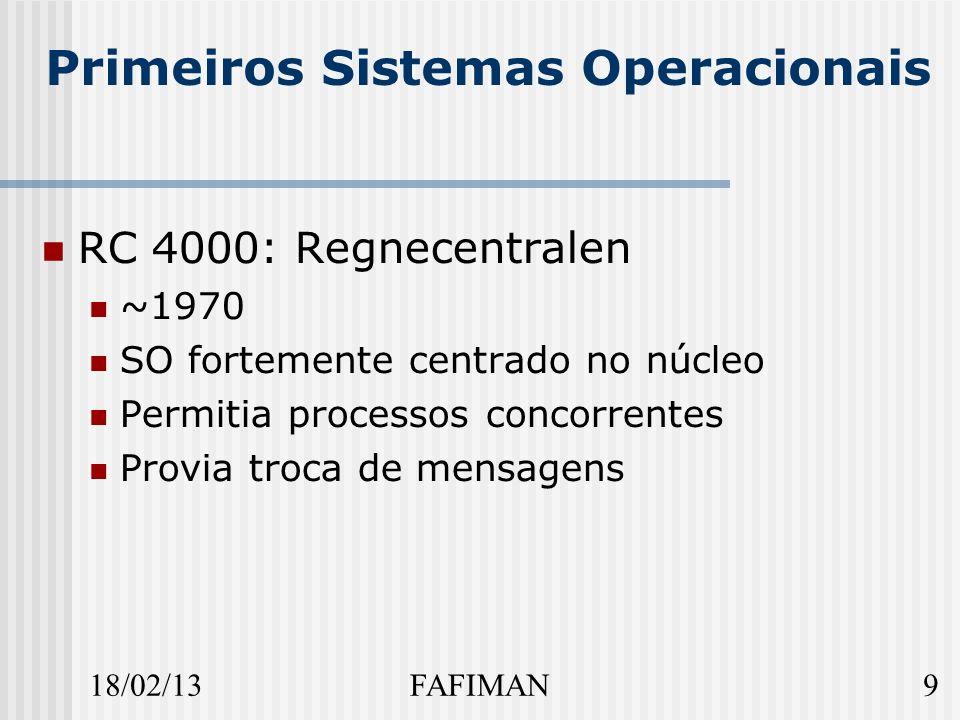 18/02/139FAFIMAN Primeiros Sistemas Operacionais RC 4000: Regnecentralen ~1970 SO fortemente centrado no núcleo Permitia processos concorrentes Provia troca de mensagens