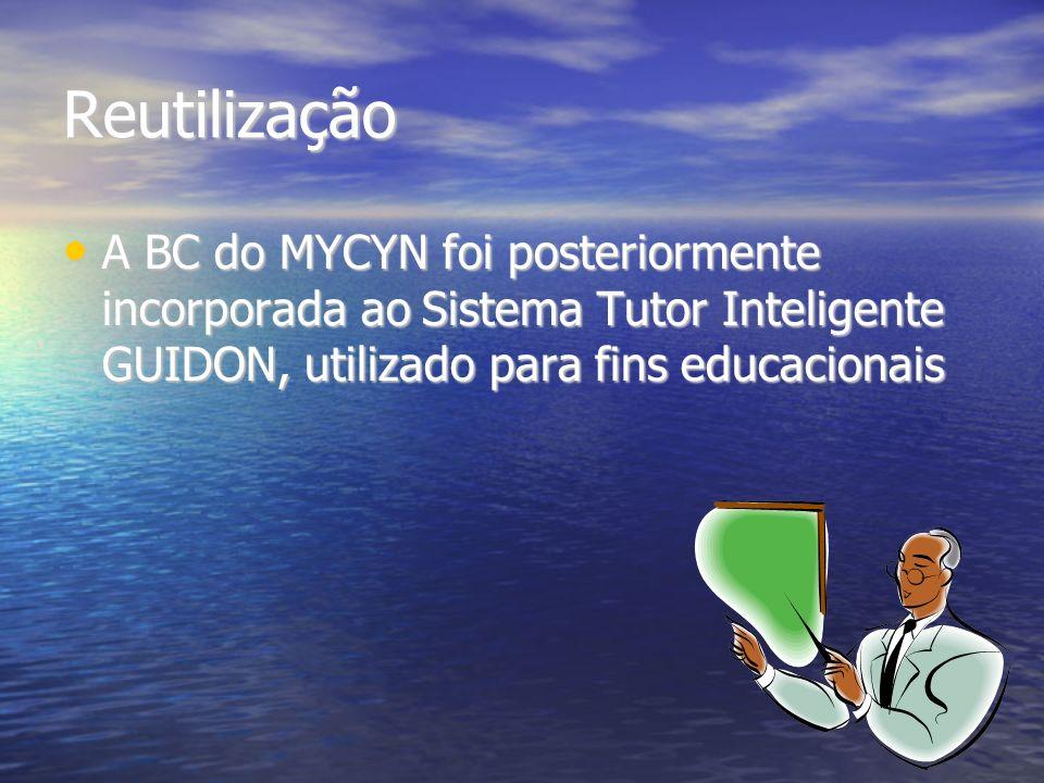 Reutilização A BC do MYCYN foi posteriormente incorporada ao Sistema Tutor Inteligente GUIDON, utilizado para fins educacionais A BC do MYCYN foi posteriormente incorporada ao Sistema Tutor Inteligente GUIDON, utilizado para fins educacionais
