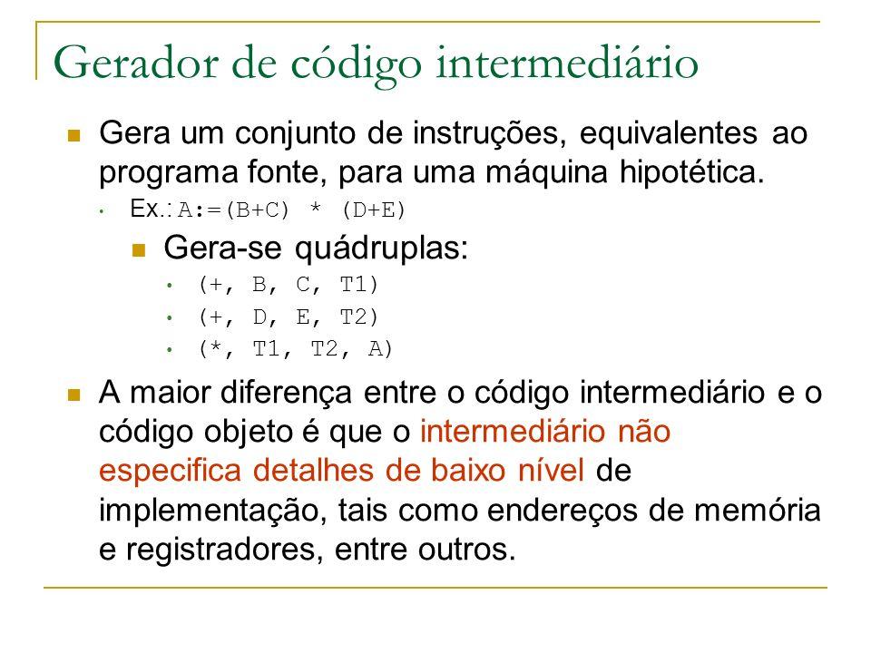 Gerador de código intermediário Gera um conjunto de instruções, equivalentes ao programa fonte, para uma máquina hipotética. Ex.: A:=(B+C) * (D+E) Ger