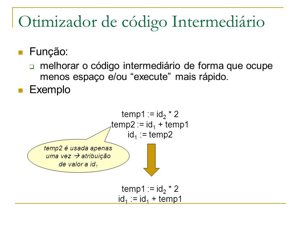 Otimizador de código Intermediário Função: melhorar o código intermediário de forma que ocupe menos espaço e/ou execute mais rápido. Exemplo temp1 :=