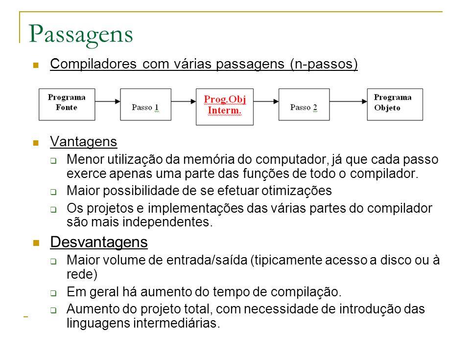 Passagens Compiladores com várias passagens (n-passos) Vantagens Menor utilização da memória do computador, já que cada passo exerce apenas uma parte das funções de todo o compilador.