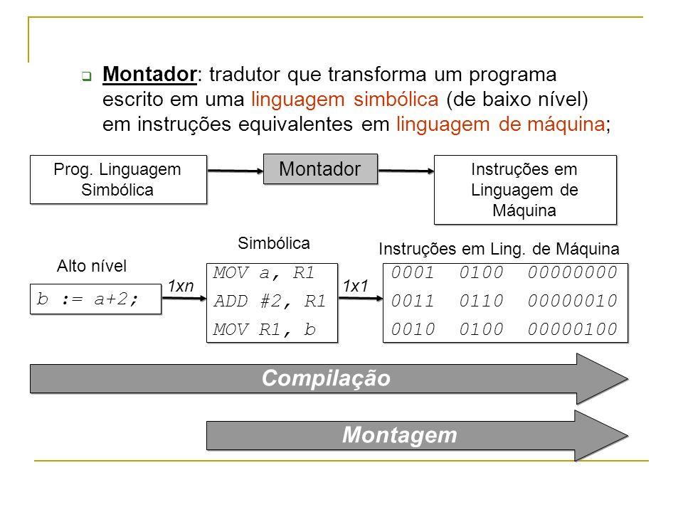 Montador: tradutor que transforma um programa escrito em uma linguagem simbólica (de baixo nível) em instruções equivalentes em linguagem de máquina;