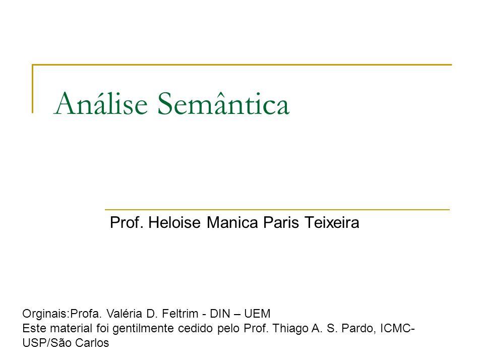 Análise Semântica Prof. Heloise Manica Paris Teixeira Orginais:Profa. Valéria D. Feltrim - DIN – UEM Este material foi gentilmente cedido pelo Prof. T
