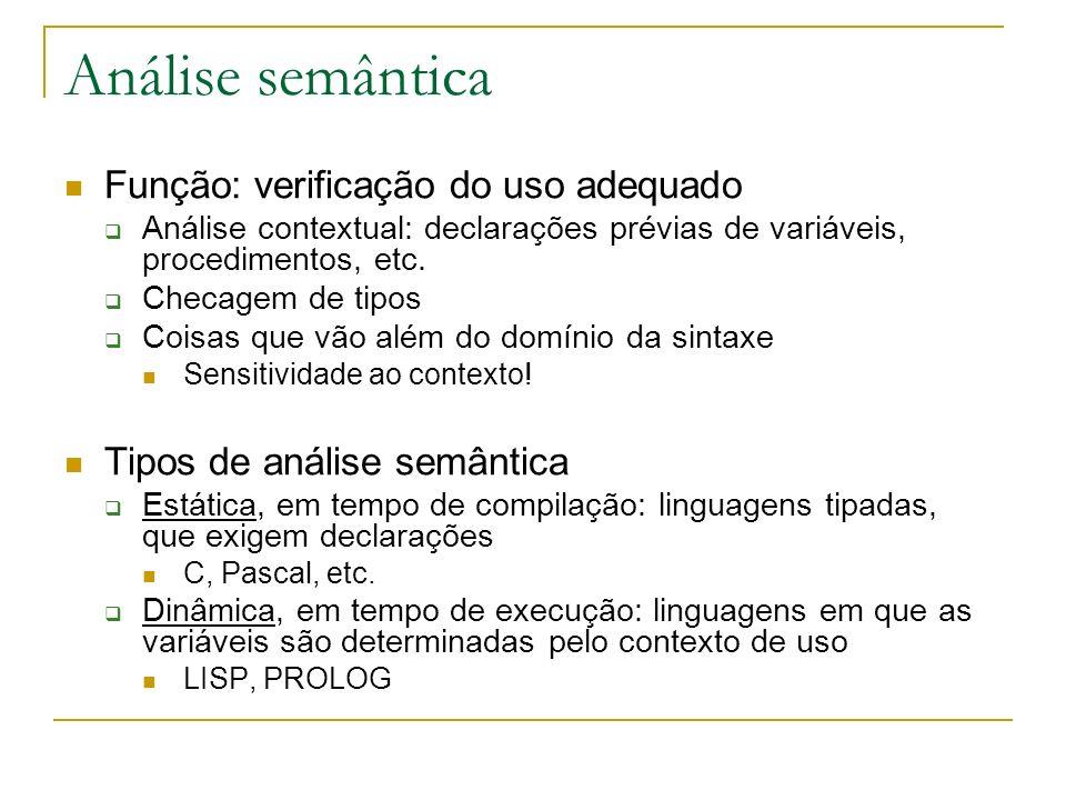 Análise semântica Função: verificação do uso adequado Análise contextual: declarações prévias de variáveis, procedimentos, etc. Checagem de tipos Cois