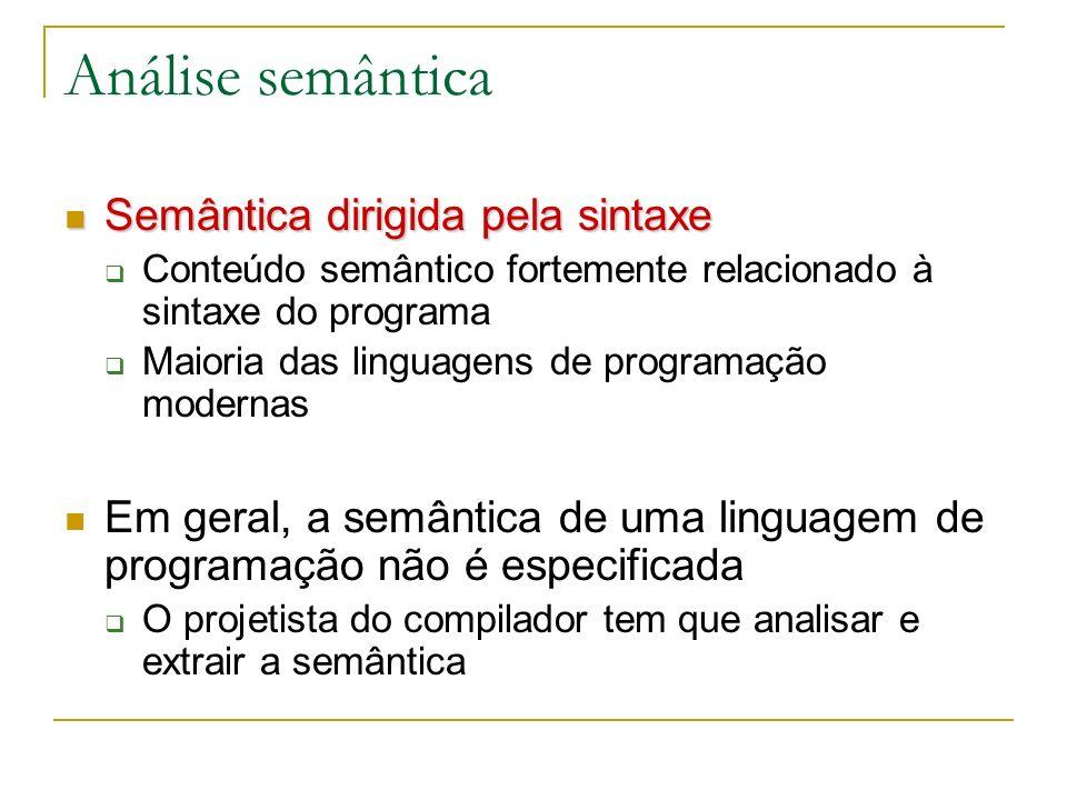 Análise semântica Em geral, a gramática de atributos de uma gramática especifica Comportamento semântico das operações Checagem de tipos Manipulação de erros Tradução do programa Tabela de símbolos: estrutura essencial para a análise semântica