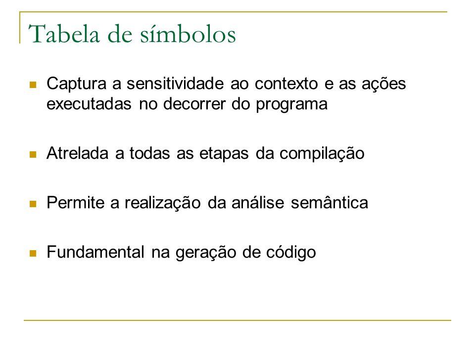 Tabela de símbolos Captura a sensitividade ao contexto e as ações executadas no decorrer do programa Atrelada a todas as etapas da compilação Permite