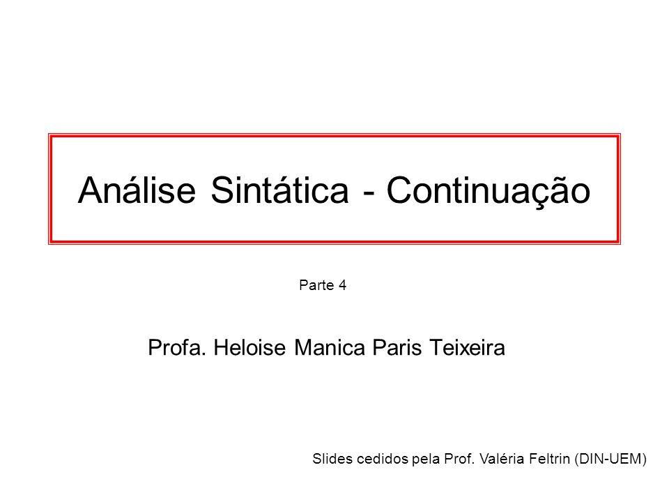 Parte 4 Análise Sintática - Continuação Profa. Heloise Manica Paris Teixeira Slides cedidos pela Prof. Valéria Feltrin (DIN-UEM)