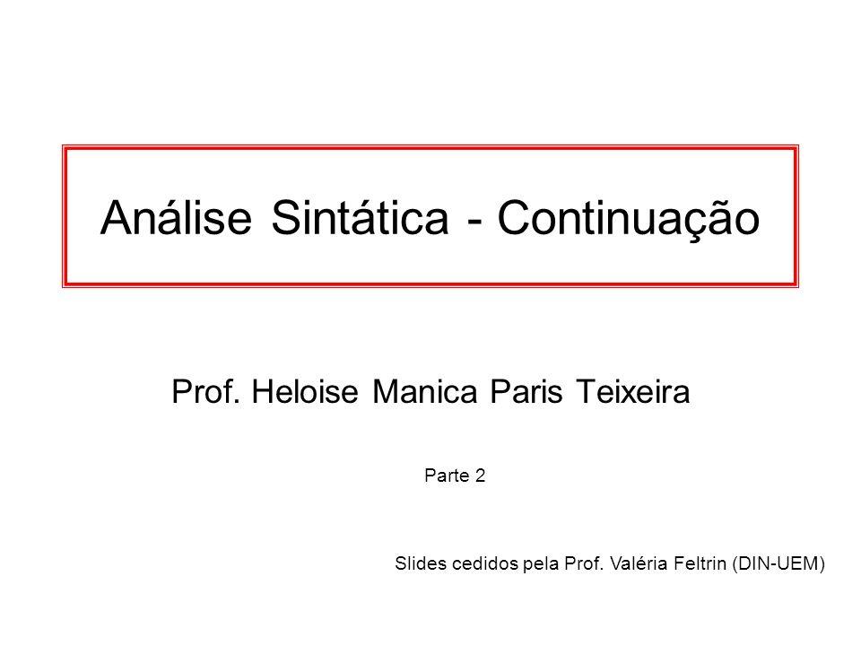 Análise Sintática - Continuação Prof. Heloise Manica Paris Teixeira Slides cedidos pela Prof. Valéria Feltrin (DIN-UEM) Parte 2