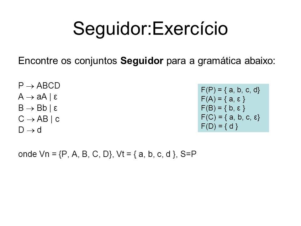 Seguidor:Exercício Encontre os conjuntos Seguidor para a gramática abaixo: P ABCD A aA | ε B Bb | ε C AB | c D d onde Vn = {P, A, B, C, D}, Vt = { a,