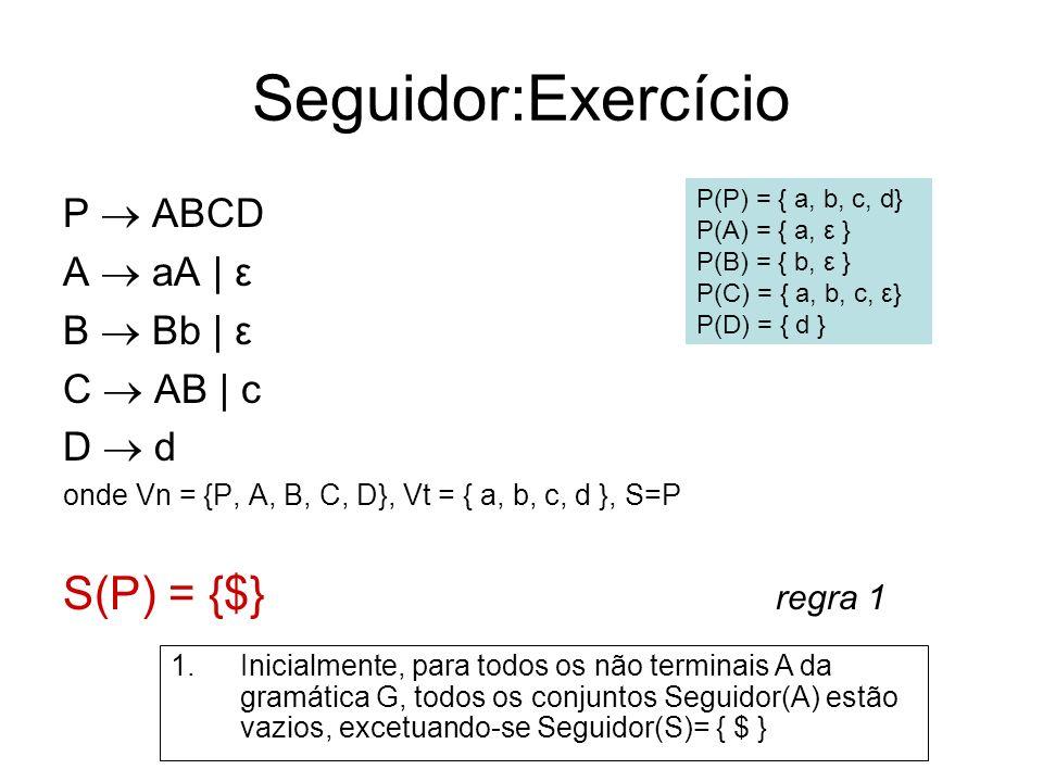 Seguidor:Exercício P ABCD A aA | ε B Bb | ε C AB | c D d onde Vn = {P, A, B, C, D}, Vt = { a, b, c, d }, S=P S(P) = {$} regra 1 P(P) = { a, b, c, d} P