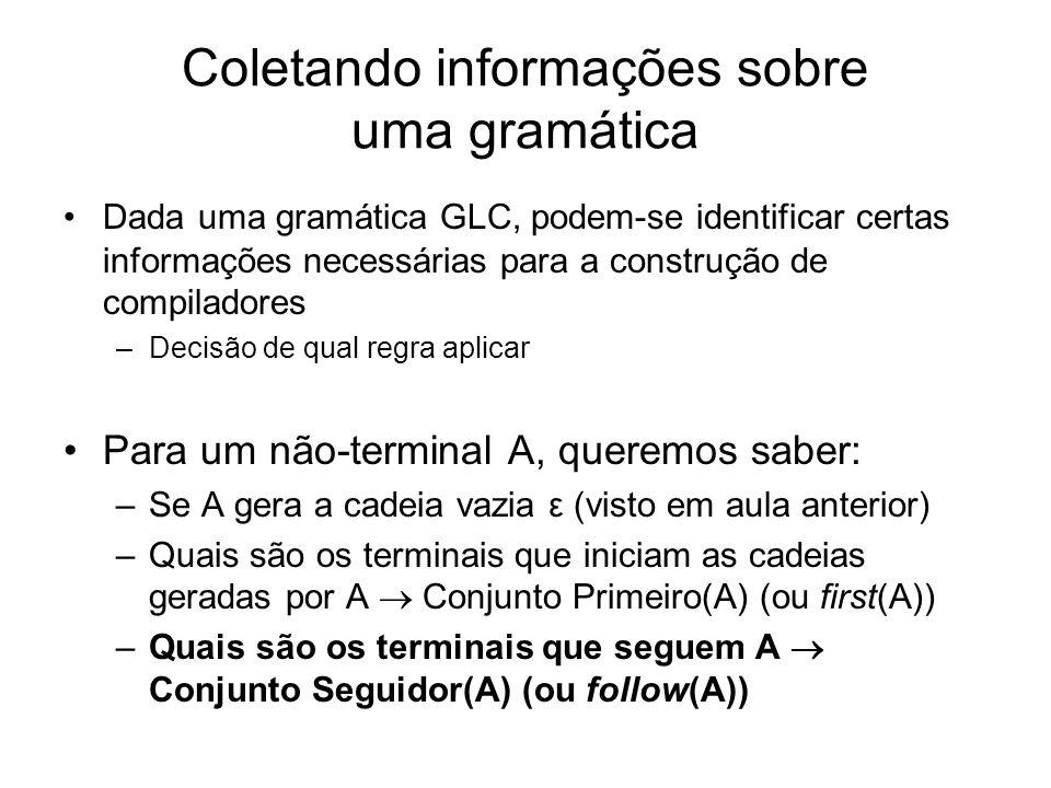 Coletando informações sobre uma gramática Dada uma gramática GLC, podem-se identificar certas informações necessárias para a construção de compiladore