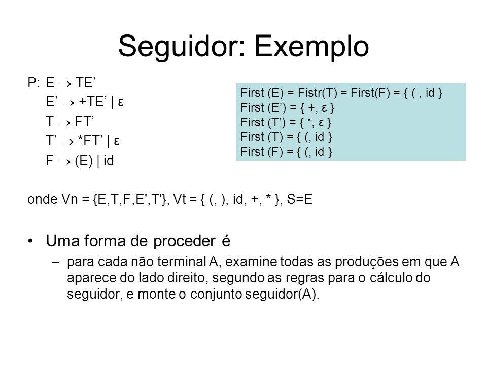 Seguidor: Exemplo P:E TE E +TE | ε T FT T *FT | ε F (E) | id onde Vn = {E,T,F,E',T'}, Vt = { (, ), id, +, * }, S=E Uma forma de proceder é –para cada