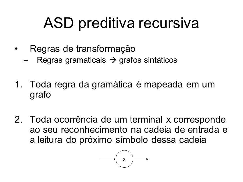 ASD preditiva recursiva 3.Toda ocorrência de um não-terminal A corresponde a análise imediata de A 4.Alternativas são representadas como A A B C