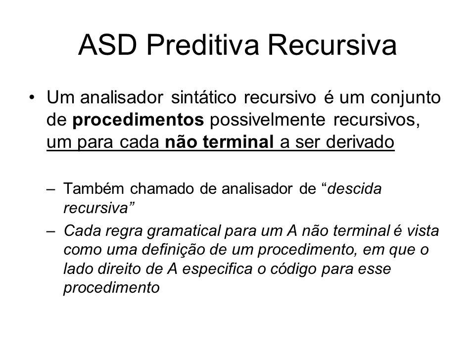 ASD preditiva recursiva Exemplo E T + E | T T F * T | F F a | b | (E) procedimento ASD início prox_token(); E; fim procedimento E início T; se (token= +) então prox_token(); E; fim procedimento T início F; se (token =*) então prox_token(); T; fim procedimento F início se ( token = ( ) então prox_token(); E; se (token = )) então prox_token() senão ERRO; senão se (token =a) ou (token =b) então prox_token() senão ERRO; fim
