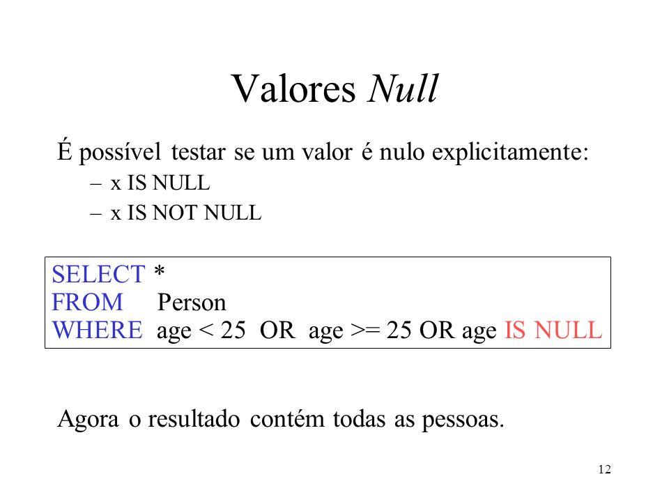 12 Valores Null É possível testar se um valor é nulo explicitamente: –x IS NULL –x IS NOT NULL Agora o resultado contém todas as pessoas.
