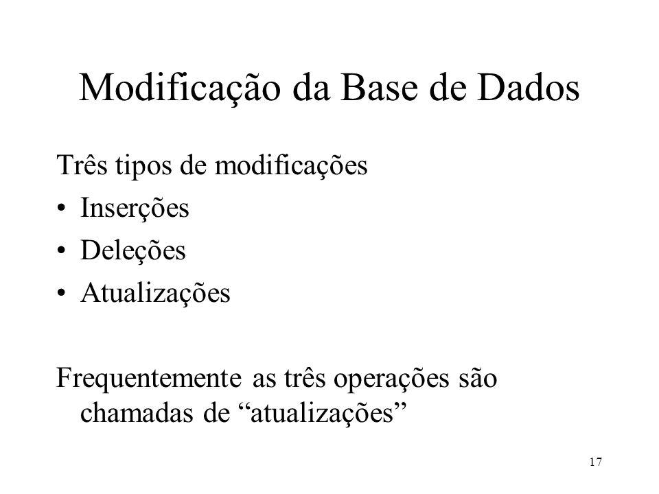 17 Modificação da Base de Dados Três tipos de modificações Inserções Deleções Atualizações Frequentemente as três operações são chamadas de atualizações