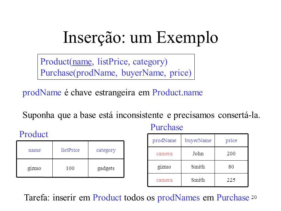 20 Inserção: um Exemplo prodName é chave estrangeira em Product.name Suponha que a base está inconsistente e precisamos consertá-la.