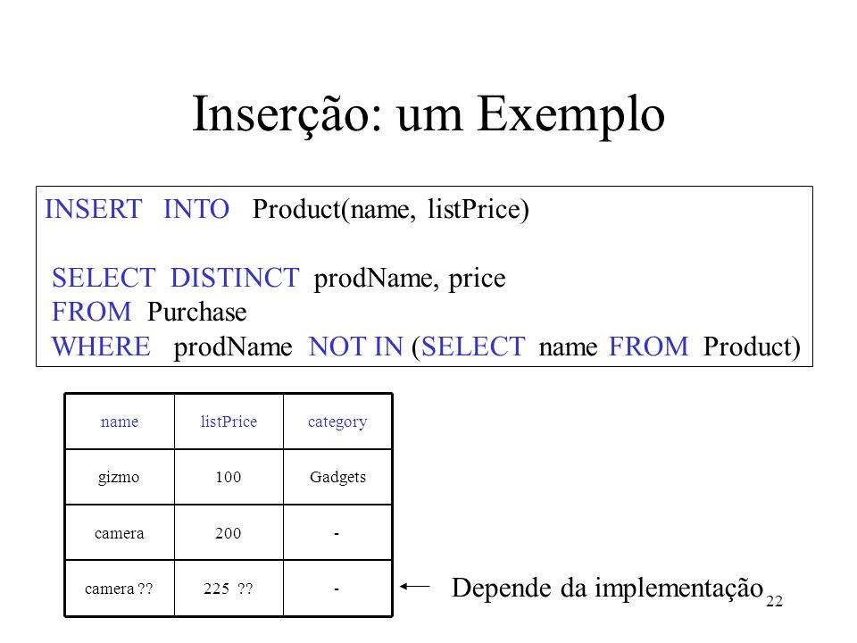 22 Inserção: um Exemplo INSERT INTO Product(name, listPrice) SELECT DISTINCT prodName, price FROM Purchase WHERE prodName NOT IN (SELECT name FROM Pro