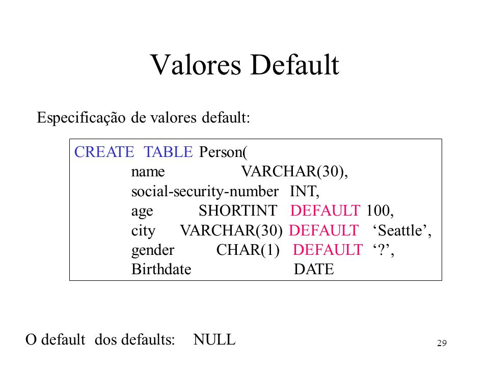29 Valores Default Especificação de valores default: CREATE TABLE Person( name VARCHAR(30), social-security-number INT, age SHORTINT DEFAULT 100, city