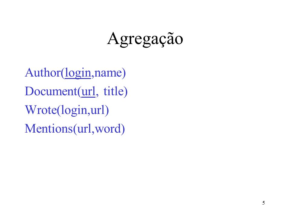 5 Agregação Author(login,name) Document(url, title) Wrote(login,url) Mentions(url,word)
