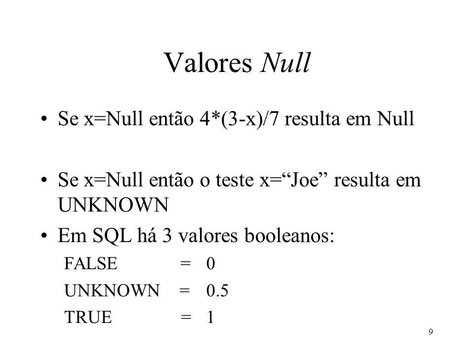 9 Valores Null Se x=Null então 4*(3-x)/7 resulta em Null Se x=Null então o teste x=Joe resulta em UNKNOWN Em SQL há 3 valores booleanos: FALSE = 0 UNKNOWN = 0.5 TRUE = 1