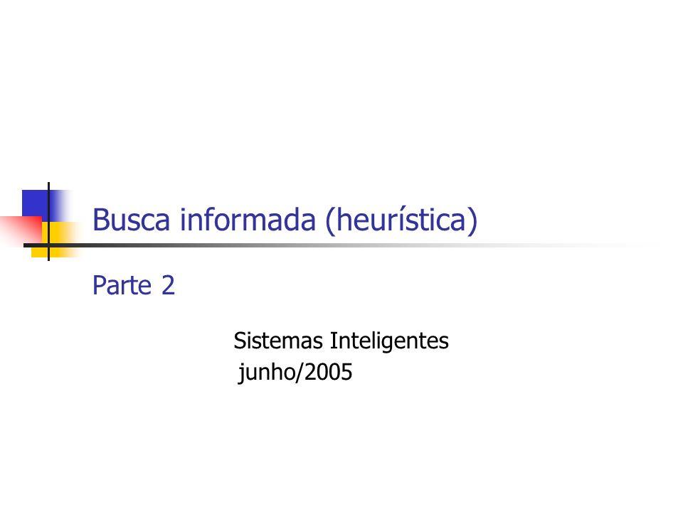 Busca informada (heurística) Parte 2 Sistemas Inteligentes junho/2005