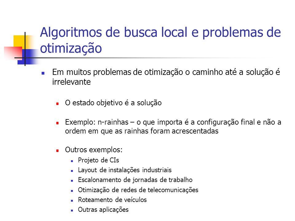 Algoritmos de busca local e problemas de otimização Em muitos problemas de otimização o caminho até a solução é irrelevante O estado objetivo é a solu